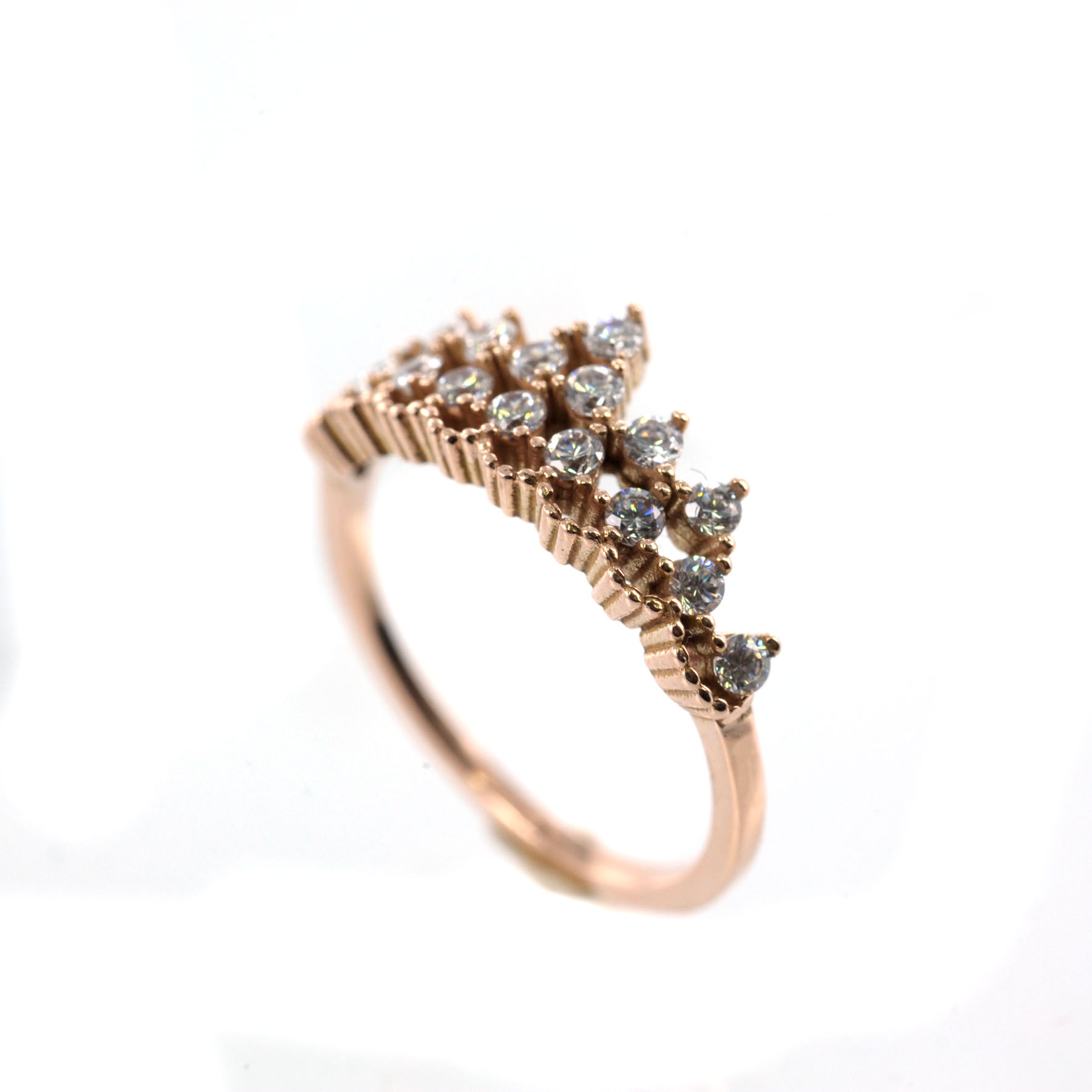 Ροζ χρυσό δαχτυλίδι με λευκά Swarovski  15d4b7b579b