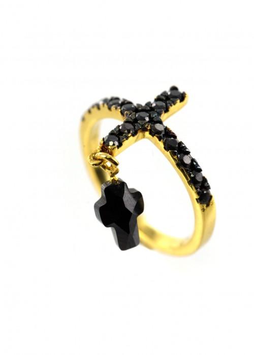 Χρυσό δαχτυλίδι με κρεμαστό σταυρό |L'or.D